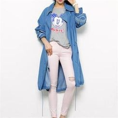 FITTHEM - Drawstring Denim Trench Coat