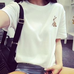 Ukiyo - Rabbit Embroidered Short-Sleeve T-Shirt