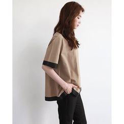 NIPONJJUYA - Contrast-Trim Linen Blend Top