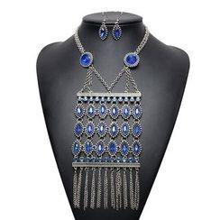 Ashita - Set: Gemstone Fringed Necklace + Earrings