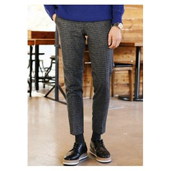 HOTBOOM - Checked Tapered Dress Pants