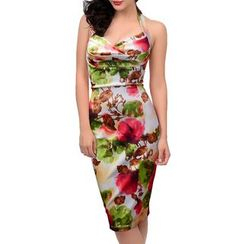 Forest Of Darama - Floral Print Halter Dress
