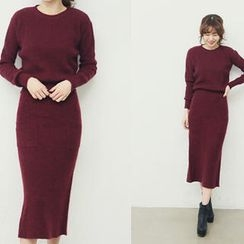 NANING9 - Set: Wool Sweater + Knitted Midi Skirt