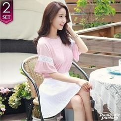 Romantic Factory - Set: Lace-Trim Fluttered-Sleeve Top + Perforated A-Line Skirt