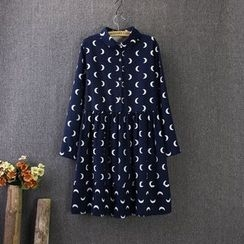 Blue Rose - Long-Sleeve Moon Patterned Pleated Dress