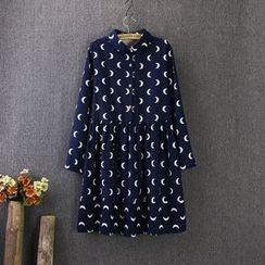 藍玫瑰衣坊 - 長袖月亮百褶連衣裙