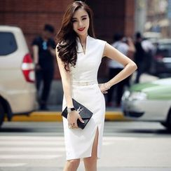Lovi - Sleeveless Slit Sheath Dress