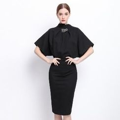 Ameous - Short-Sleeve Pleated Sheath Dress