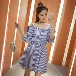 GARAT - Striped Cold Shoulder A-Line Dress