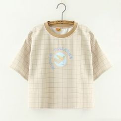 Meimei - Printed Check Short-Sleeve T-Shirt