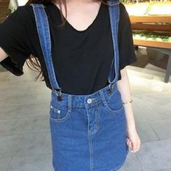 Glen Glam - Denim Suspender Skirt