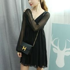 Dodostyle - V-Neck Chiffon A-Line Mini Dress