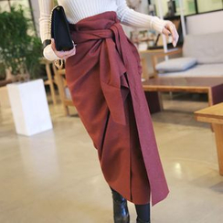 DABAGIRL - Tie-Waist Wool Blend Long Wrap Skirt