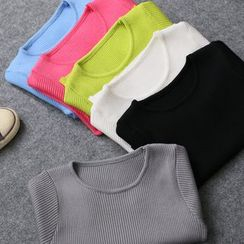KANAMI - Short-Sleeve Cropped Knit Top