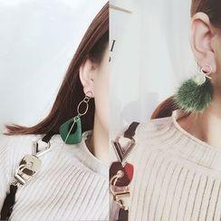 ChuChuAcc - Long Asymmetric Pom Pom Earrings