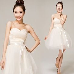 Beautiful Wedding - Strapless Mini Prom Dress