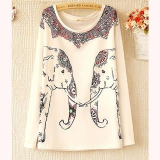 Ringnor - Long-Sleeve Elephant-Print T-Shirt