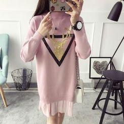 Qimi - Pleated Hem Sequined Deer Sweater Dress