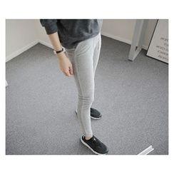 demavie - Drawstring-Waist Pocket-Front Leggings