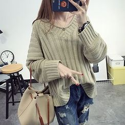 FR - V-Neck Chunky Knit Sweater