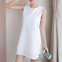 Cobogarden - 純色無袖連衣裙