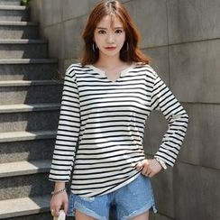 DEEPNY - Cutout-Neckline Long-Sleeve Stripe T-Shirt