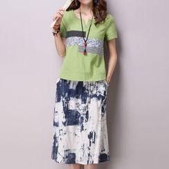 Ekim - Set: Patchwork Short-Sleeve T-Shirt + Midi Skirt