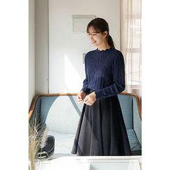 CHERRYKOKO - Scallop-Edge Cable-Knit Sweater