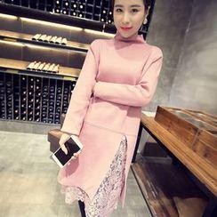 IndiGirl - Inset Lace Knit Tunic