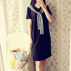 Cobblestone - Striped-Layered Short-Sleeve Dress