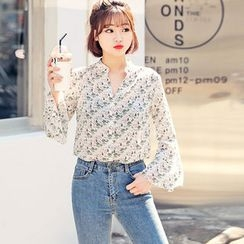 HOTPING - Open-Placket Floral Print Blouse