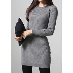 REDOPIN - Wool Blend Rib-Knit Dress