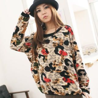 CatWorld - Contrast-Trim Leopard-Print Top