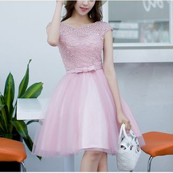 MSSBridal - Embellished Cap-Sleeve Mini Prom Dress
