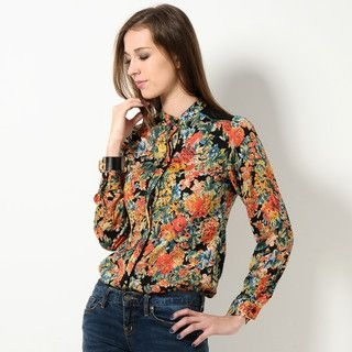 YesStyle Z - Crochet-Panel Floral Blouse
