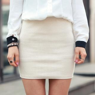 Elasticized-Waist Rib-Knit Skirt