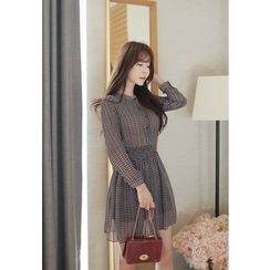 MyFiona - Smocked-Waist Patterned Chiffon Mini Shirtdress