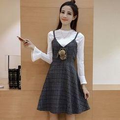 Angel Shine - Set: Long Sleeve T-Shirt + Plaid A-Line Pinafore Dress