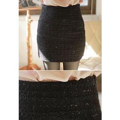 MyFiona - Glittered Tweed Mini Skirt