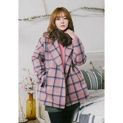 GOROKE - Collared Plaid Loose-Fit Jacket