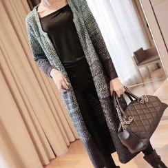 YIDIYU - Chunky Knit Melange Long Cardigan