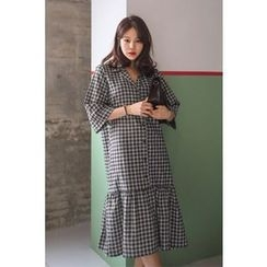 PPGIRL - 3/4-Sleeve Checked Shirtdress