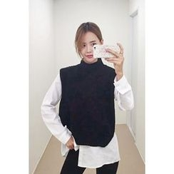 migunstyle - Mock-Neck Slit-Side Knit Vest