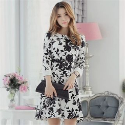 CHICLINE - Floral Roll-Up A-Line Dress