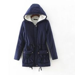 Heybabe - Fleece Lined Hooded Drawstring Waist Jacket
