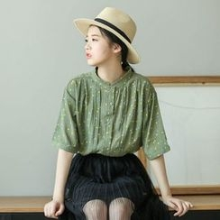 Mushi - Printed Mandarin Collar Elbow-Sleeve Blouse