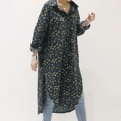 NANING9 - Slit-Side Floral Pattern Shirtdress