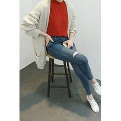 ATTYSTORY - Open-Front Drop-Shoulder Cardigan