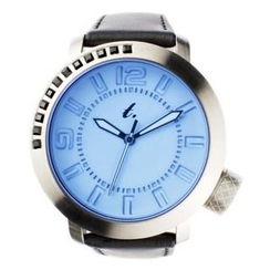 t. watch - Blue Diamond Lens Glass Black Leather Strap Watch