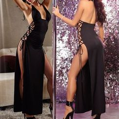 Eros - Tie-Neck Lace-Up Side-Slit Dance Dress